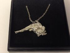 """Elephant Head GT140 Pewter On 16"""" Silver Plated Curb Necklace"""