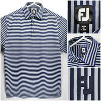 FootJoy FJ Mens Large Golf Shirt Polo Blue Striped Polyester