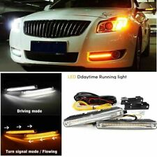2pcs LED Car Daytime Running Light DRL Switchback Signal E4 Mark White Amber