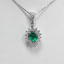 ciondolo smeraldo e brillanti in oro 18kt