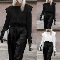 Mode Femme Chemise Manche Longue Couture Dentelle Casual Loose Haut Tops Plus