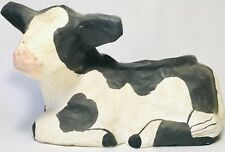 Vintage c1970s Folk Art Paper Mache Milk Cow Planter Plant Stand Farm Country