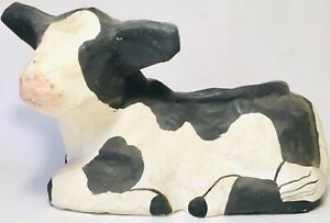 Vintage c1970s Folk Art Paper Mache Milk Cow Planter Plant Stand Farm Country