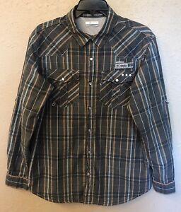 Columbia PFG Omni-Shade Mens Long Sleeve Plaid Button Down Shirt Sz M
