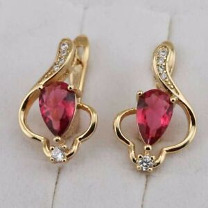 Cute Stylish Ruby Red Pear Gem Jewelry Golden Filled Huggie Woman Earrings h2902