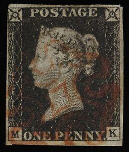 Penny Black Sc#1/SG#2 Plate 2 pos M-K  see images front+back, & description
