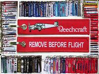 Keyring BEECHCRAFT BONANZA 35 RED Remove Before Flight tag keychain