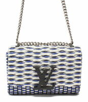 LOUIS VUITTON M50126 Pochette Louise MM Leather Chain Shoulder Bag White Blue