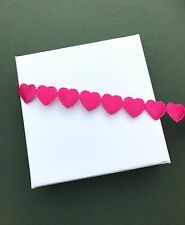 "5/8"" Pink Heart Cut Out Trim - Valentine Embellishment - Wedding Decoration Love"