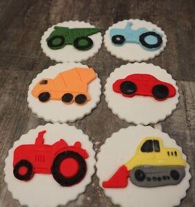 Transport  Cupcake Toppers Car Digger Tractor set of 6 Fondant Sugarpaste Edible