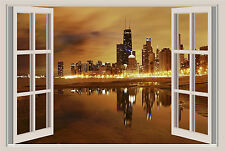 Chicago Lights Window View Repositionable Color Wall Sticker Wall Mural 36x24