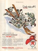 1954 Texaco Dalmatian Dog ad - Lively Take - off on skis