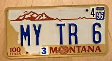 "MONTANA CENTENNIAL  VANITY LICENSE PLATE "" MY TR 6 "" TRIUMPH  TR6 BRITISH UK"
