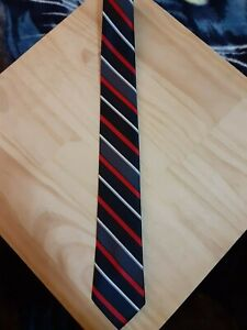 George Tie Midnight Blue/Black and Red Striped 100% Polyester