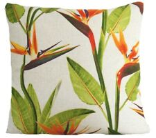 """Birds of Paradise Cushion Cover Linen Floral Printed Fabric Orange Green 16"""""""
