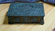 ANTIQUE 17C CHINESE VERY OLD CINNABAR HAND CARVED LACQUERED DRAGONS HINGED BOX
