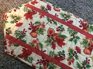Handcrafted-Quilted Table Runner - Leaves in Beautiful Autumn Colors / Acorns +