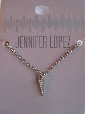 Jennifer Lopez Silver Tone Triangle Pendant with Crystals Necklace, Free S&H, JL