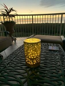 Pier I Star Candle Holder with Glimmer Strings and Batteries Glass