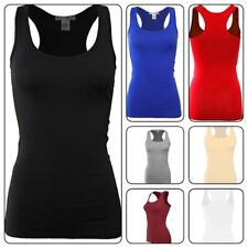 Basic Solid Ribbed Racerback Woman Tank Top Long Stretchy TOP(USA SELLER)