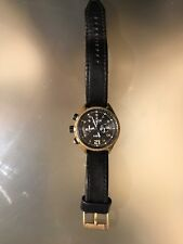 Flight Chronograph Black Leather Men's Watch ch2783