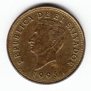 EL SALVADOR 1 centavo 1995 KM135.2c Brass/Steel 1-yr type HIGH GRADE - VERY RARE