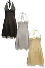 Polyester No Pattern Halterneck Regular Dresses for Women