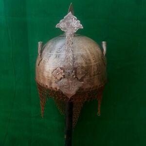 Vintage Mughal Islamic QURAN Caligraphy Iron Kulah khula khud helmet Chainmail