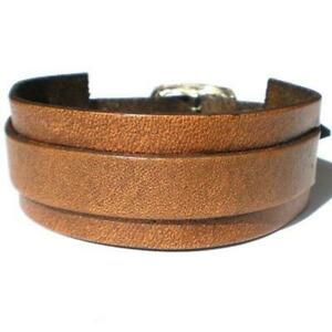 BROWN NARROW CUFF BANDED LEATHER BRACELET STRAP WITH BUCKLE ADJUSTABLE SIZE