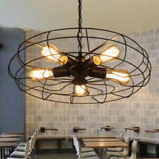 Industrial Retro Suspension Chandelier Fan Pendant Lights in Wrought Iron Style