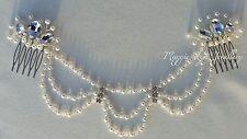 Draped Bridal head piece, hairpiece Swarovski pearls crystals, back wedding hair