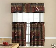"""3 Piece Tahoe Cabin Printed Valance and 36""""L Tier Set With Bear & Paw Prints"""