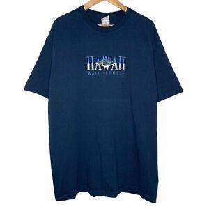 Hawaii Waikiki Beach Embroidered Tourism Mens Navy Blue T-Shirt Size XL
