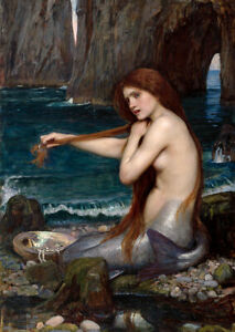 A Mermaid (1900) John W. Waterhouse Pre-Raphaelite nude wall art print