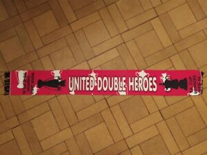Manchester United scarf vintage 1992 - 93  1993 - 94 United Double Heroes