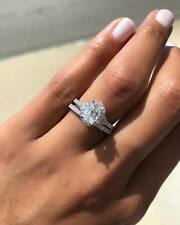 Set Engagement Ring 14K White Gold Over 2 Ct Oval Cut Diamond Solitaire Bridal