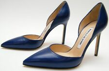 WOMENS MANOLO BLAHNIK Tayler D'orsay BLUE LEATHER HIGH HEELS PUMPS SHOES SZ 35
