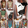 Women Casual Short Sleeve Crew Neck T Shirt Summer Floral Top Loose Blouse Tunic