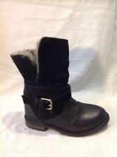Girls Zara Black Leather Boots Size 27