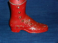 """4.5"""" Red painted Metal Victorian Shoe or Boot Figurine"""