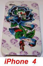 """Coque TPU Pour iPhone  4 Design ED Hardy""""ROSE BLANCHE"""""""