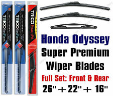 Honda Odyssey 2005+ Wiper Blades Top-of-line 3pk Front Rear 16260/16220/16B