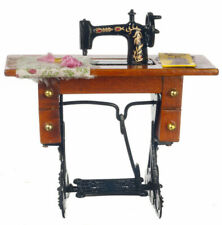 H1 Vintage Miniature Sewing Machine With Cloth for Scale Dollhouse Decoration
