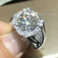 2.00 Ct Round Cut Diamond Cluster Men's Engagement Ring 14K White Gold Over