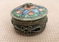 RARE Antique Chinese Brass& Coral Beautiful Trinket Small Box Jewelry