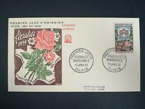 FRANCE PREMIER JOUR FDC YVERT 1189 FLORALIES 15F PARIS 1959