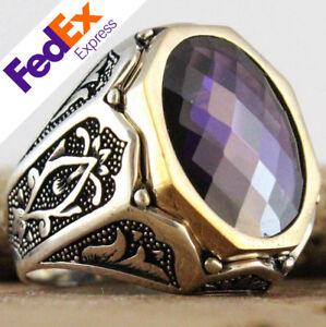 Turkish Handmade 925 Sterling Silver Amethyst Ottoman Men's Luxury Ring All Size