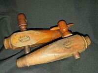"""Antique 2x. H.GAGE Melbourne TIMBER BARREL TAPS """" 2AB """" Man Cave Bar AS Found"""