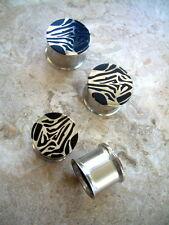 "Pair Ear Plugs 5/8"" 16mm Steel Double Flare Tunnels Reversible Zebra Print BRL3"