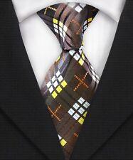 Hermosa Corbata Para Hombre Clásico Con Textura Grid Check!!! Corbata Corbata De Seda Marrón Blanco